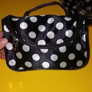 Handbags - NWT Black/White Polka Dot Travel Cosmetic Bag
